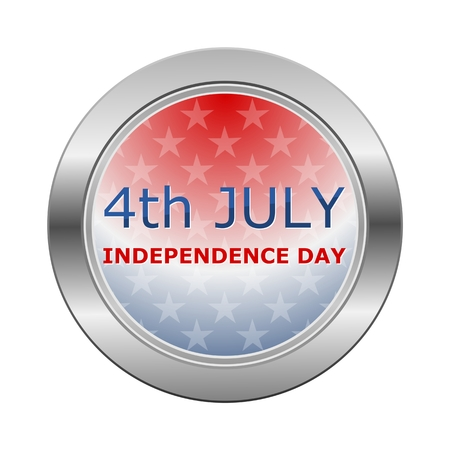 independance: 4th July Independence Day With Stars Silver Button