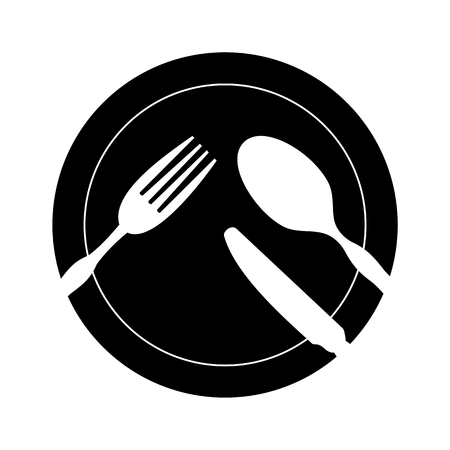 bar ware: Restaurant Sign with Spoon, Fork and Knife Illustration