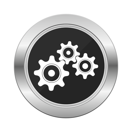 silver: Gears Industrial Silver Button