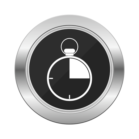 Stopwatch icon silver button Illustration