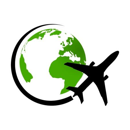 Logo avion volant autour de la planète Terre verte Logo
