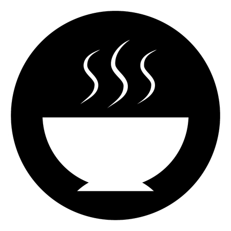 meal: Hot meal food circle icon Illustration