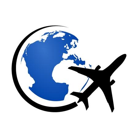 Logo Flugzeug fliegt um den Planeten Erde blau
