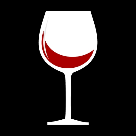 Red Wine glass icon black background Çizim