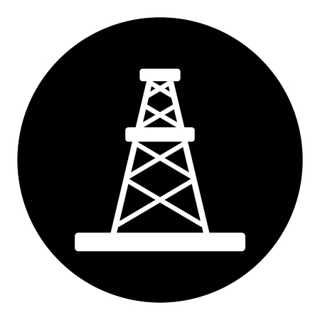 Oil rig black icon Illustration