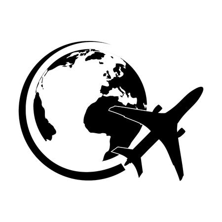 Logo avion volant autour de la planète Terre noire Logo