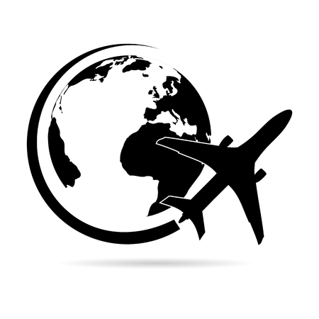 commercial painting: Logo plane flying around planet Earth black Illustration