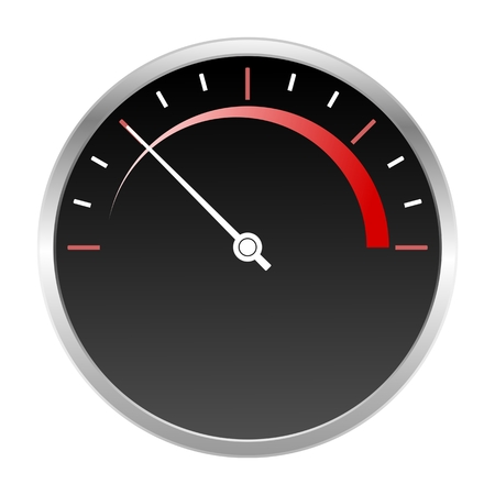 icon red: Speedometer scale icon red Illustration