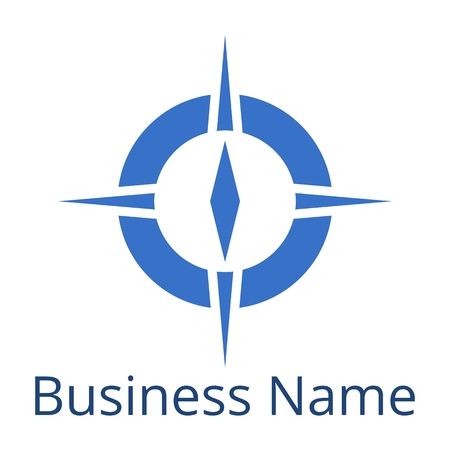Compass Logo Busines Name blau Standard-Bild - 52080587