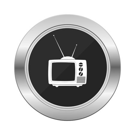 silver: Tv icon silver button Illustration