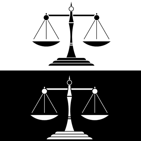 convicted: Justice Scale Black and White Icon Illustration