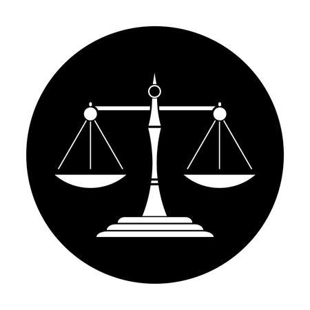 acquittal: Justice Scale Black Circle Icon Illustration