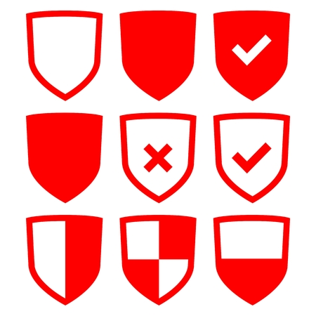 honor guard: Set of Shield icons red Illustration