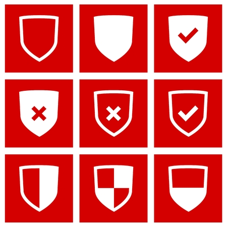 honour guard: Set of Shield icons on red background