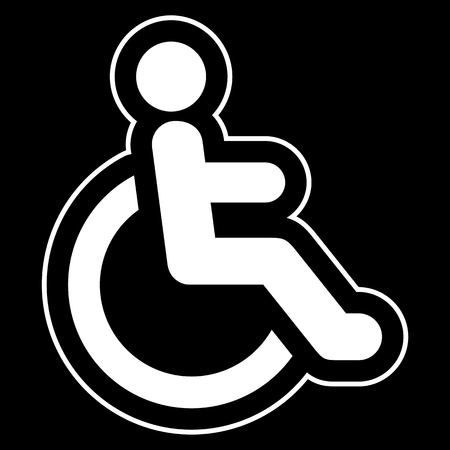 accessibility: Disabled icon sign Accessibility white on black background