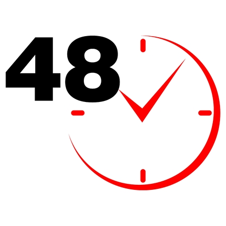 48: 48 hours sign red clock