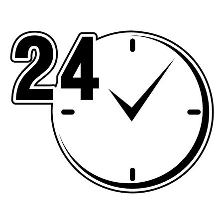 24: 24 hours sign black clock