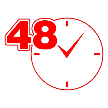availability: 48 hours sign red clock