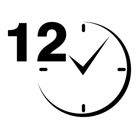 a 12: 12 hours sign black clock