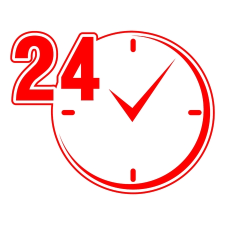 24: 24 hours sign red clock