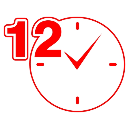 12 hours sign red clock
