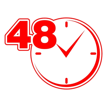 hrs: 48 hours sign red clock