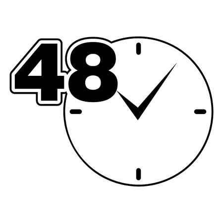 48: 48 hours sign black clock
