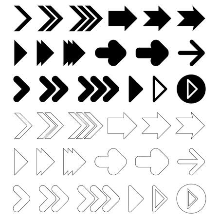 satin round: Arrow sign icon set black and white