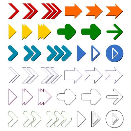 pointer emblem: Arrow sign icon set Illustration