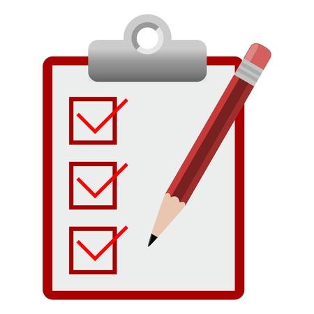 checklist: Vector checklist icon red Illustration