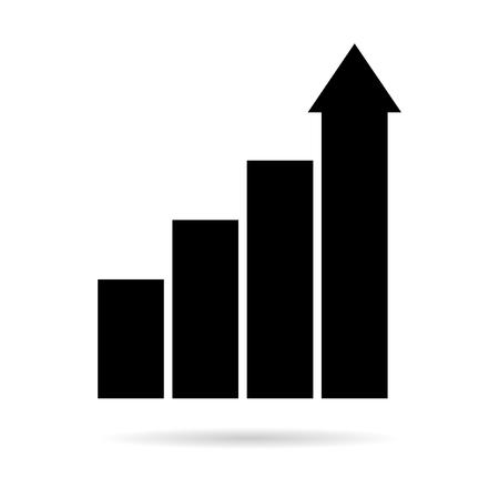 busines: Rising busines bar graph diagram black