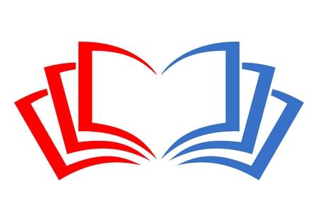 logotipo libro rojo y azul