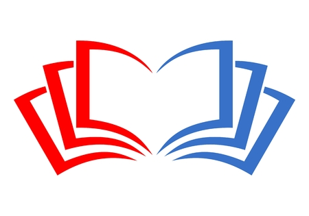Book logo red and blue