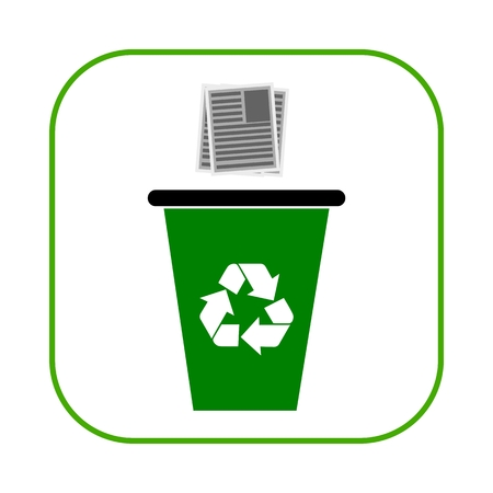 bin tub: Recycle bin for paper with recycle sign Illustration