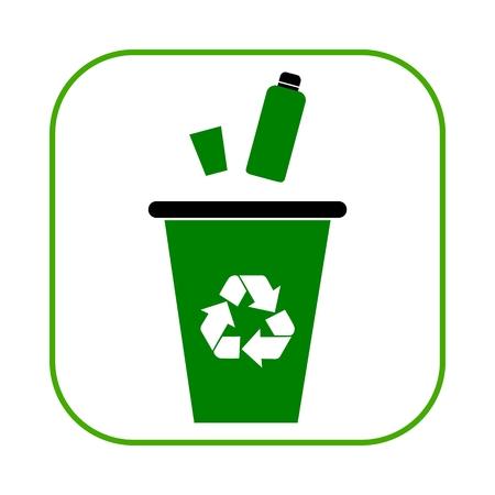 segregate: Green garbage, trash bin