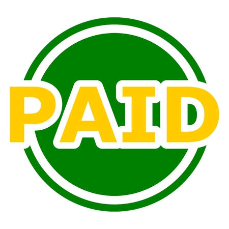 recompense: Paid button yellow and green circle