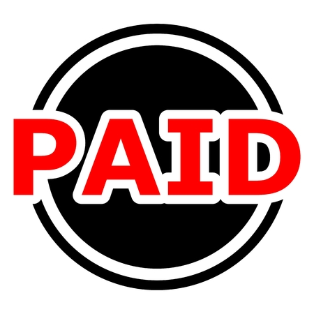 paid: Paid button red and black circle