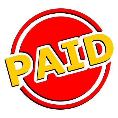 paid: Paid button yellow and red circle