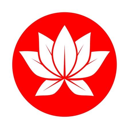 Lotus flower red circle Ilustração