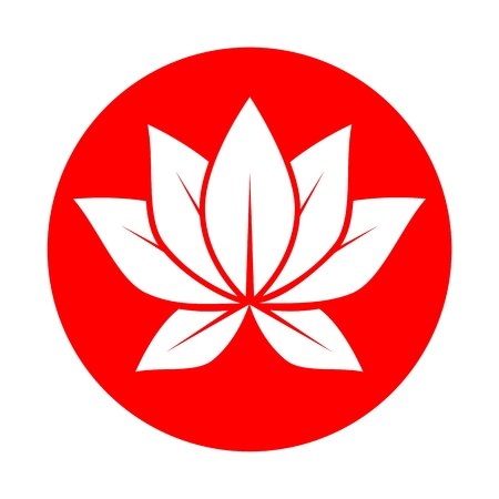 Lotus flower red circle Stock Illustratie