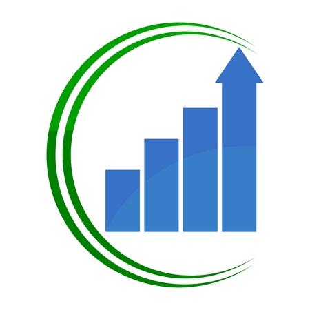 busines: Rising busines bar graph diagram green and blue Illustration