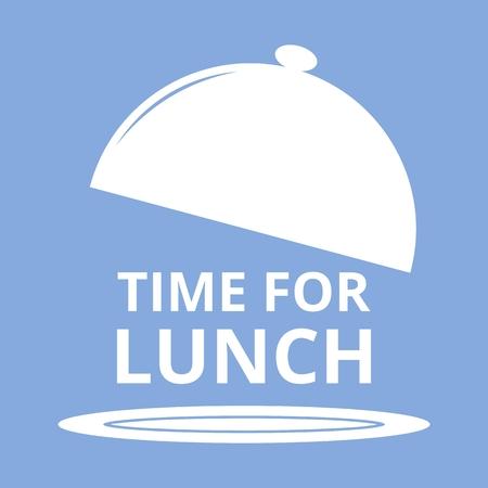 Zeit für das Mittagessen blauem Hintergrund Vektorgrafik