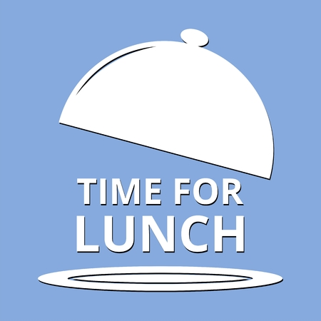 Time For Lunch blue background Stock Illustratie