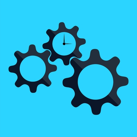 dag: Time Management, gears and clock on blue background