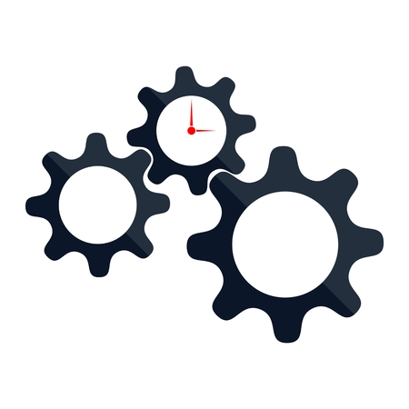 dag: Time Management, gears and clock on white background Illustration