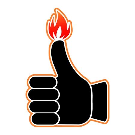 火のシンボルの親指のように燃えて
