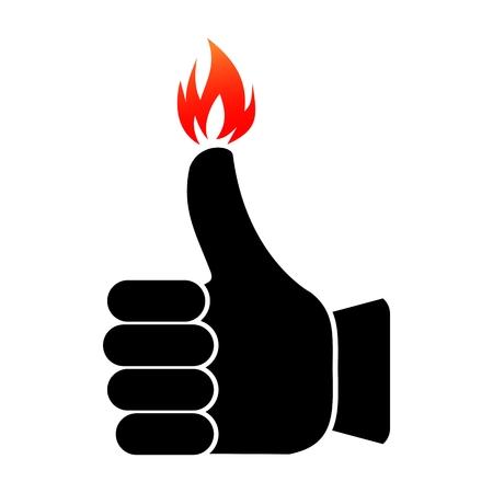 Burning like thumbs up symbol on fire