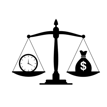 affluence: Time and money on scales, business success white background Illustration