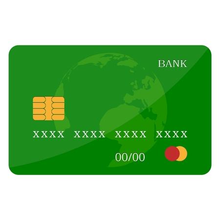 Credit Card Green Icon Isolated On White Illustration