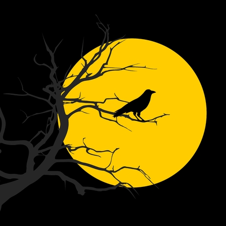 helloween: Black crow on the background of a full moon night Happy Helloween Illustration